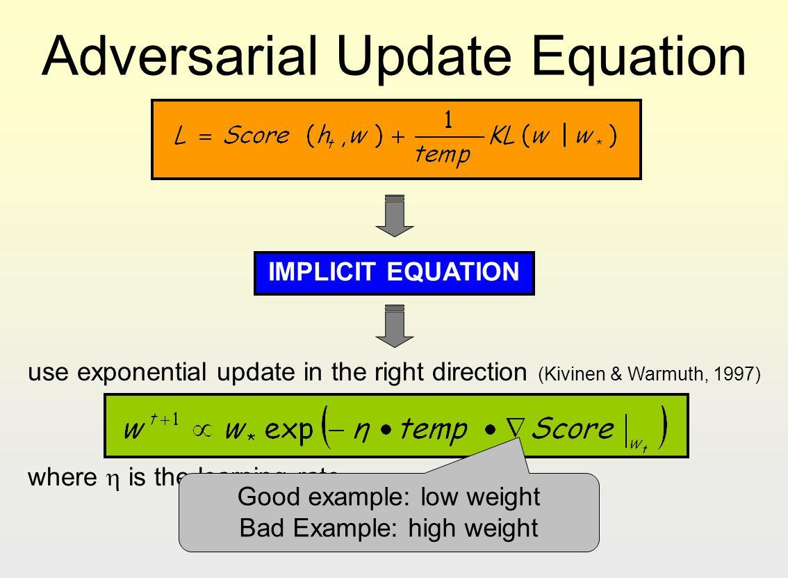 Adversarial Update Equation