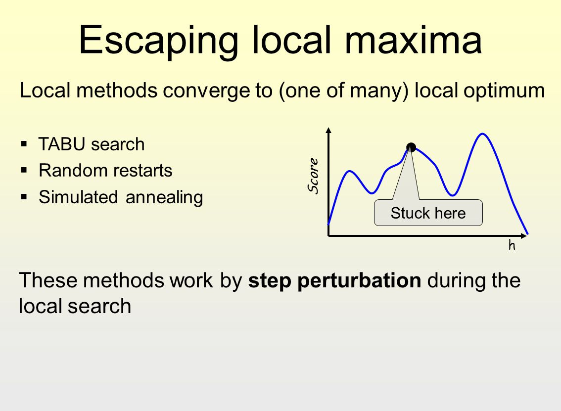 Escaping local maxima Local methods converge to (one of many) local optimum. TABU search. Random restarts.