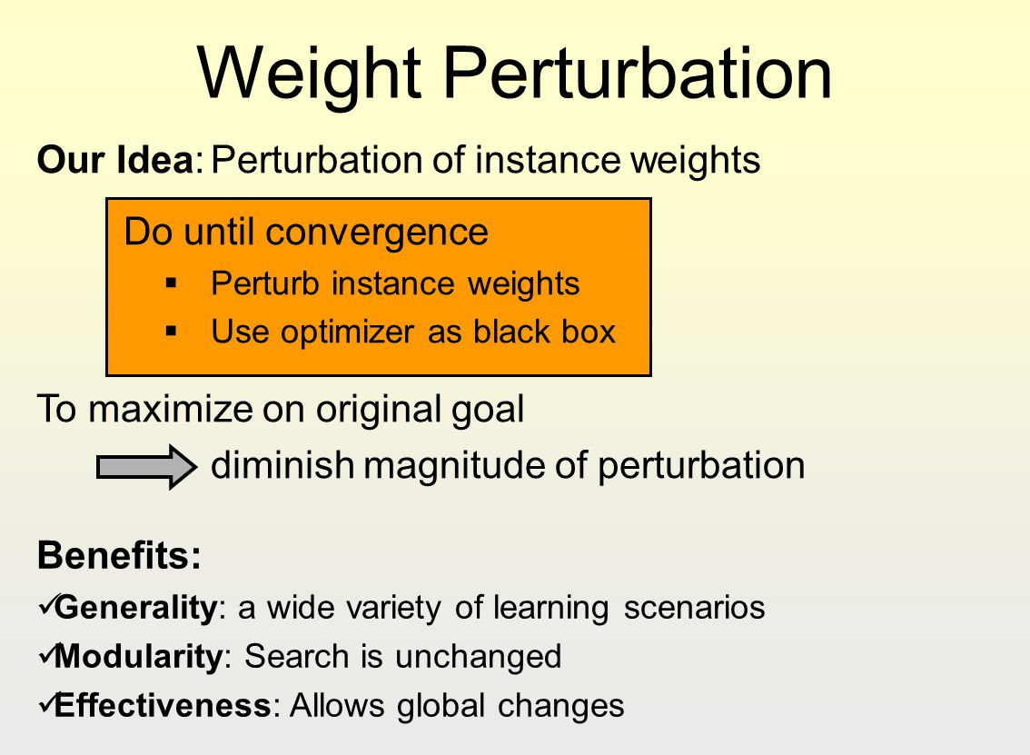 Weight Perturbation Our Idea: Perturbation of instance weights
