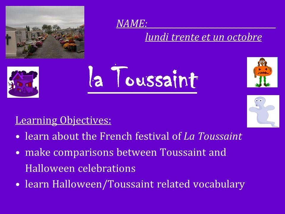 la Toussaint NAME:_______________________________