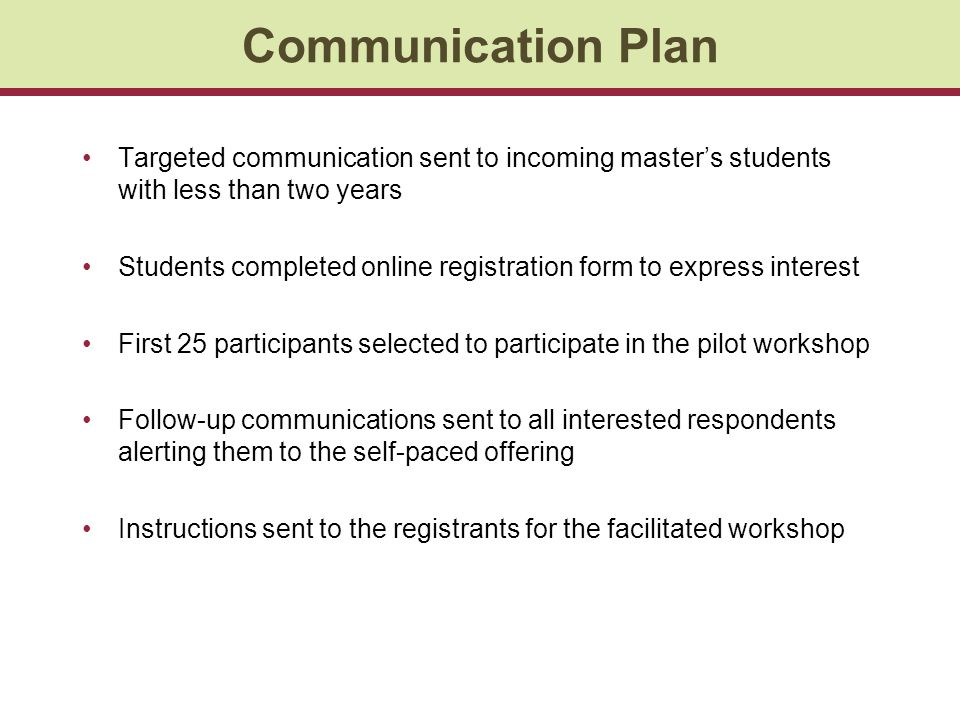 Communication Plan Targeted communication sent to incoming master's students with less than two years.