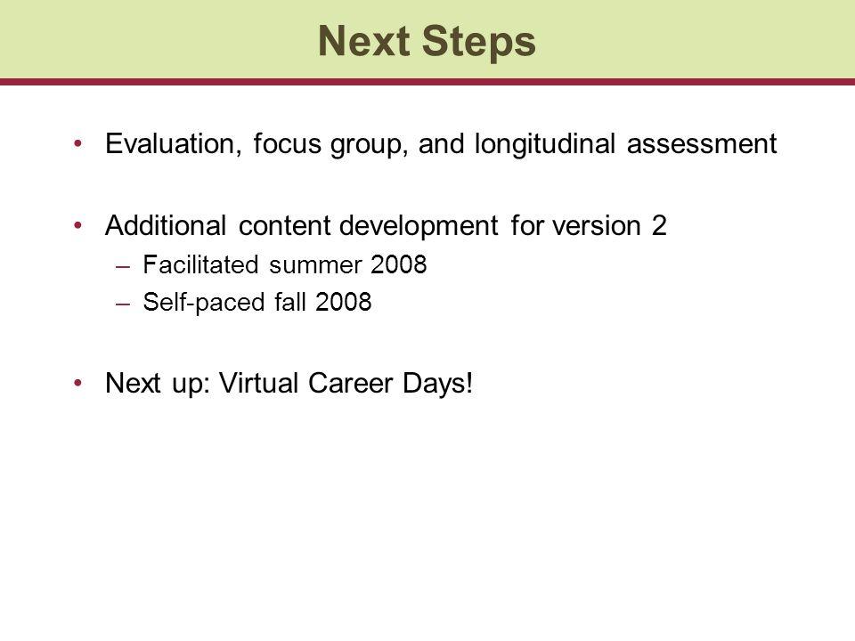 Next Steps Evaluation, focus group, and longitudinal assessment