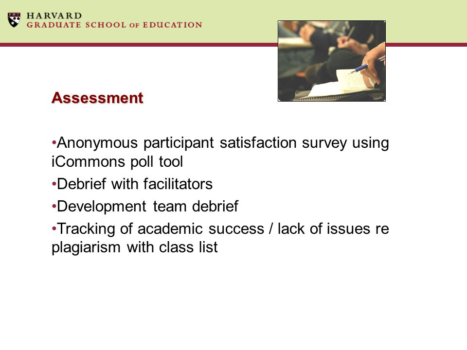 Anonymous participant satisfaction survey using iCommons poll tool