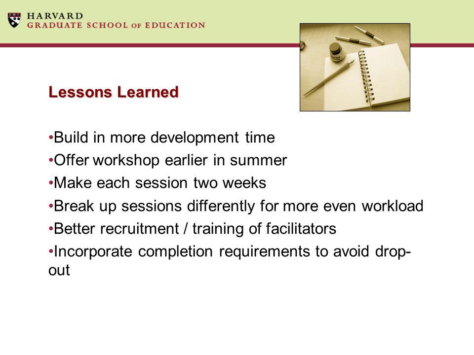 Build in more development time Offer workshop earlier in summer