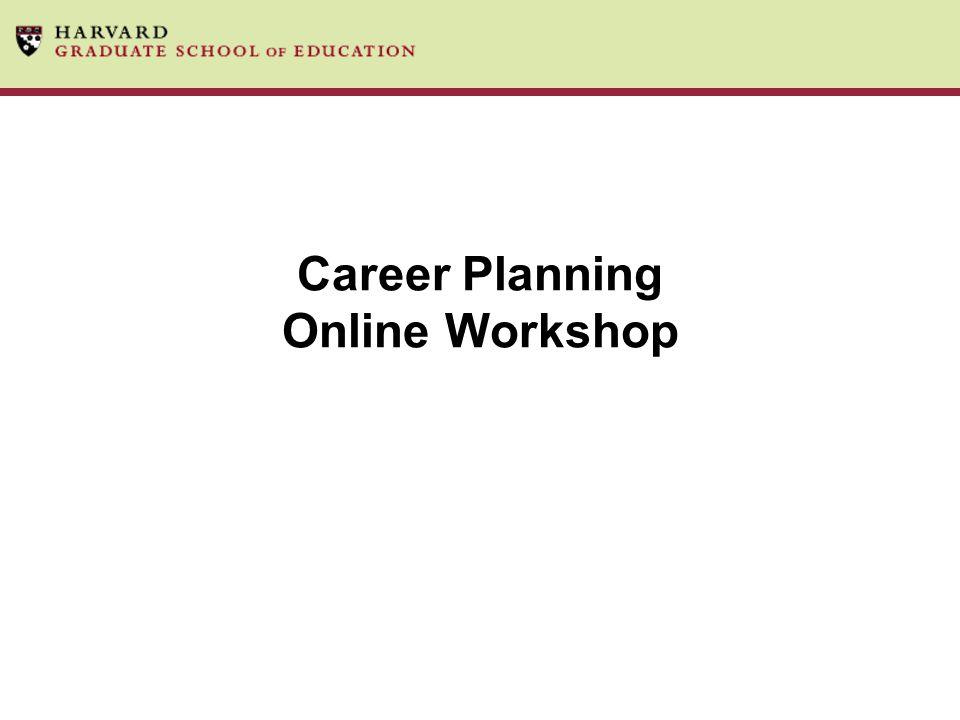 Career Planning Online Workshop