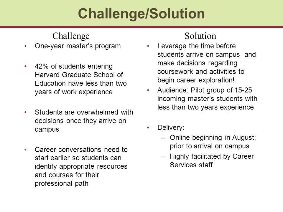 Challenge/Solution Challenge Solution One-year master's program