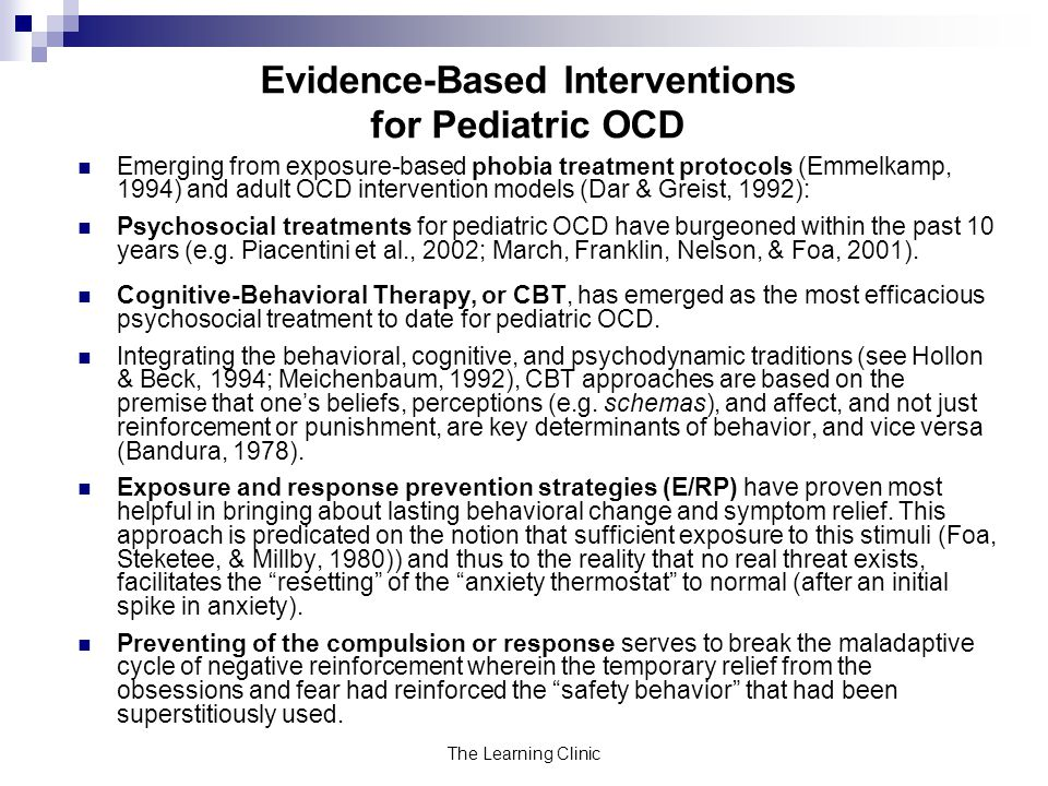 Evidence-Based Interventions for Pediatric OCD
