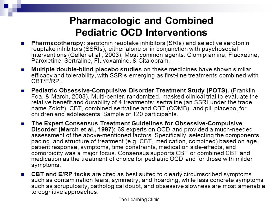 Pharmacologic and Combined Pediatric OCD Interventions