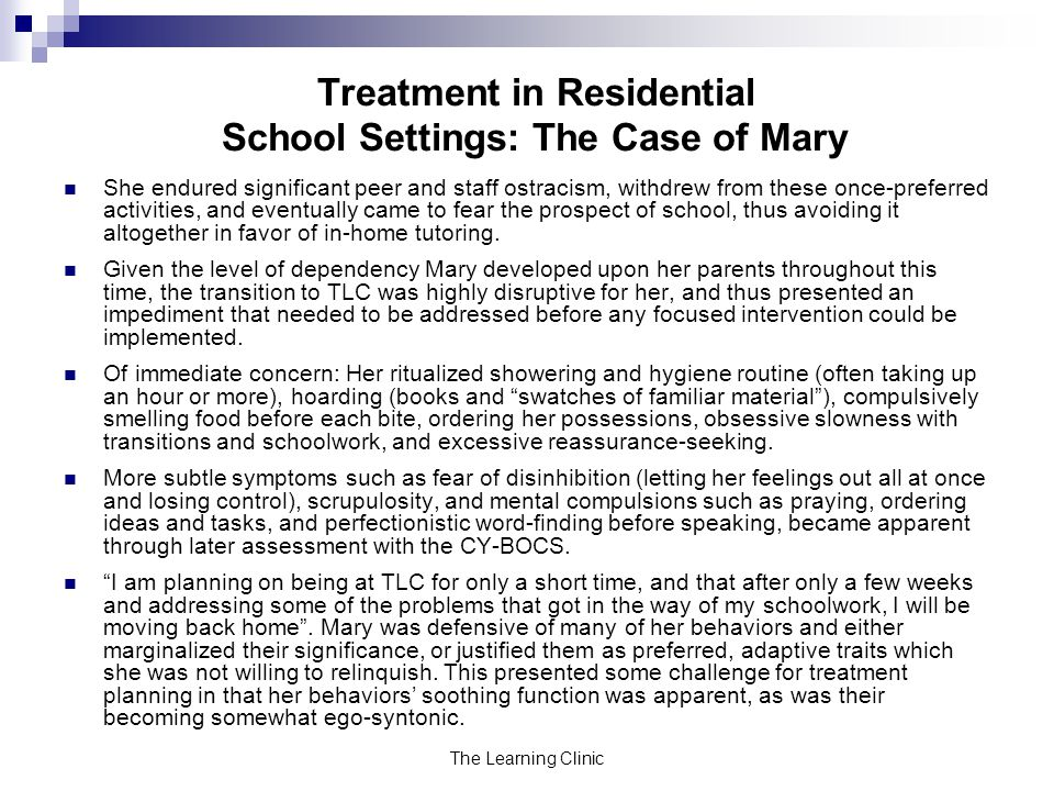 Treatment in Residential School Settings: The Case of Mary