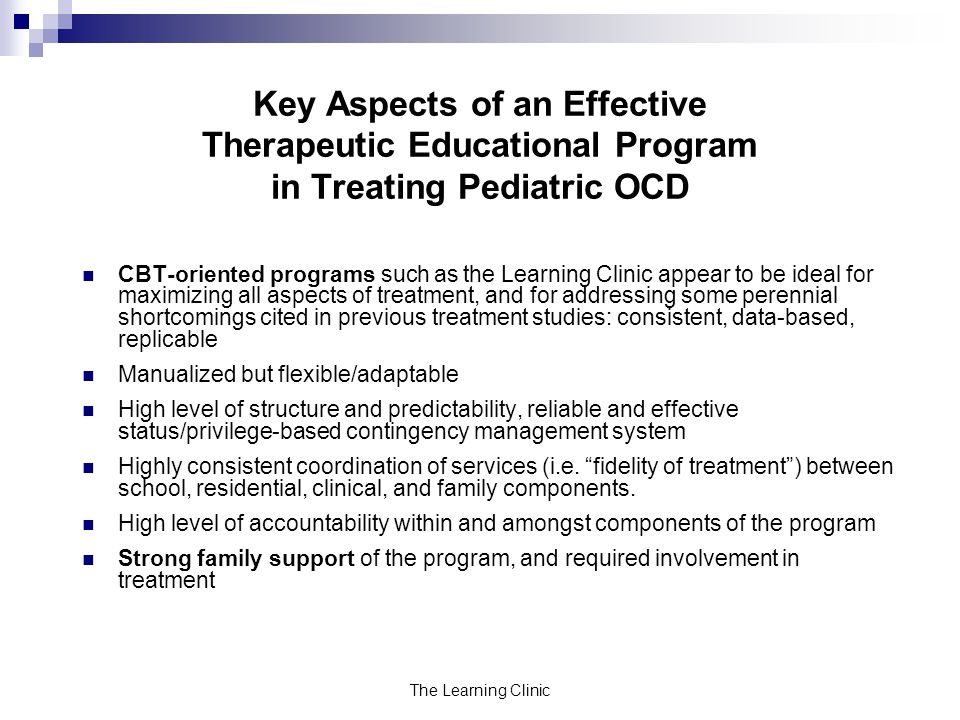 Key Aspects of an Effective Therapeutic Educational Program in Treating Pediatric OCD