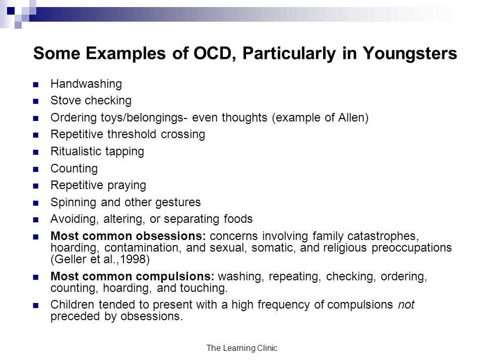 Some Examples of OCD, Particularly in Youngsters