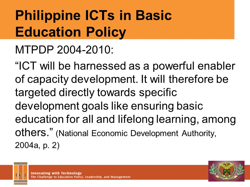 Philippine ICTs in Basic Education Policy