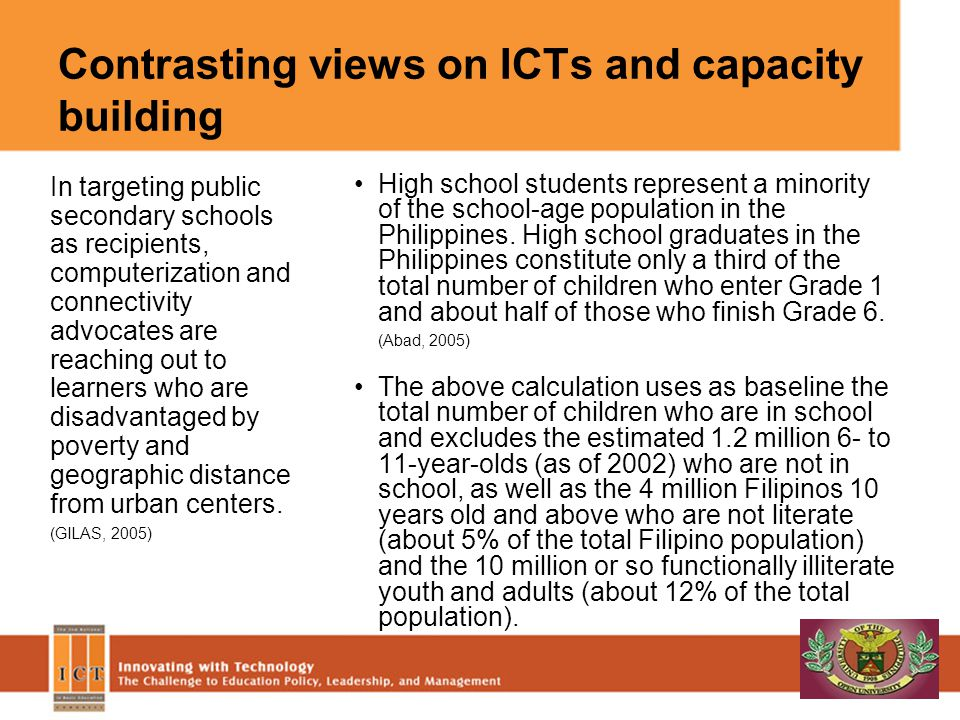 Contrasting views on ICTs and capacity building