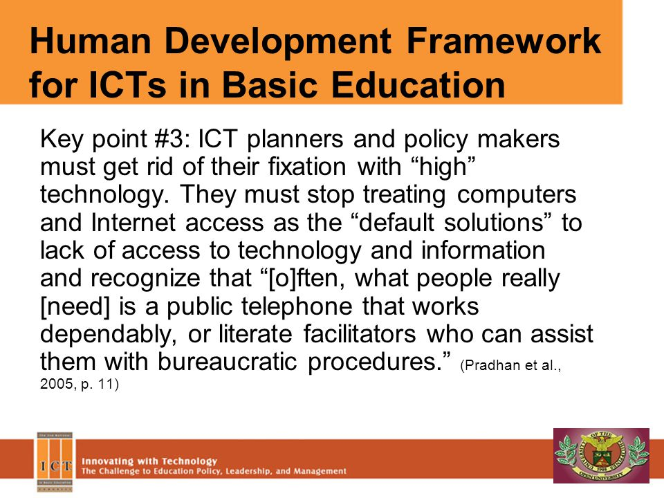 Human Development Framework for ICTs in Basic Education