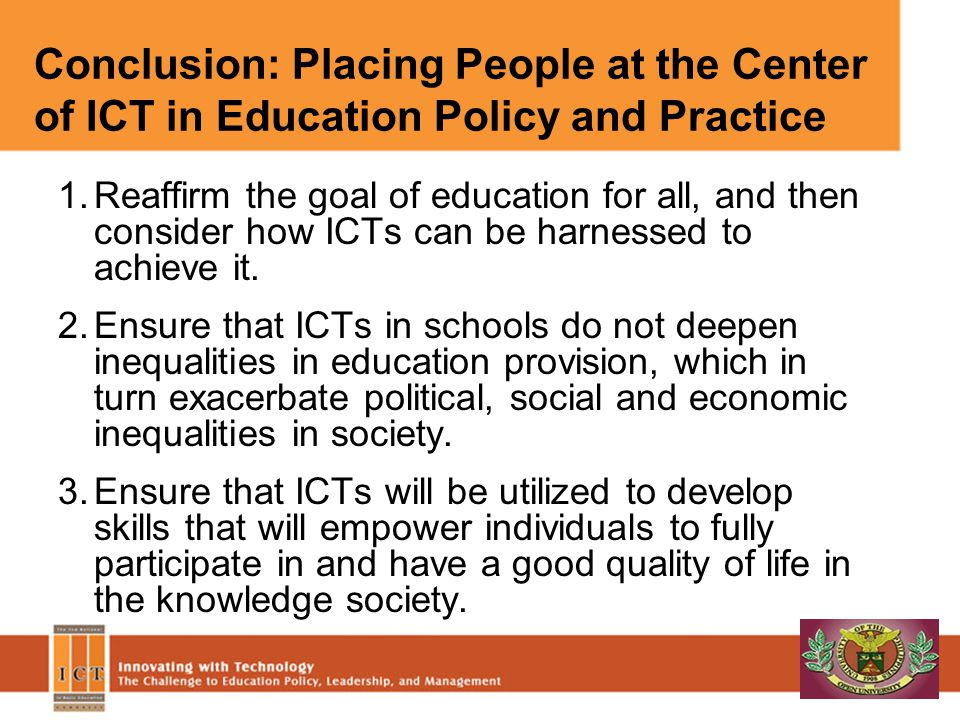Conclusion: Placing People at the Center of ICT in Education Policy and Practice