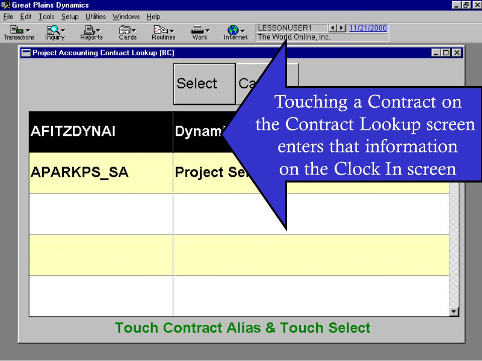 the Contract Lookup screen enters that information