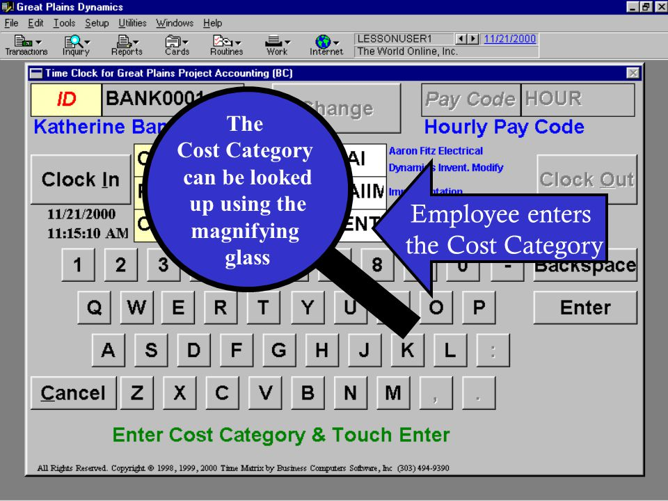 Employee enters the Cost Category The Cost Category can be looked