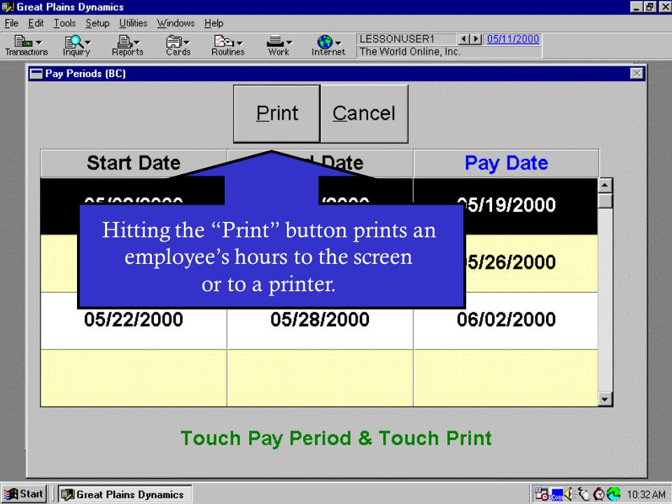 Hitting the Print button prints an employee's hours to the screen