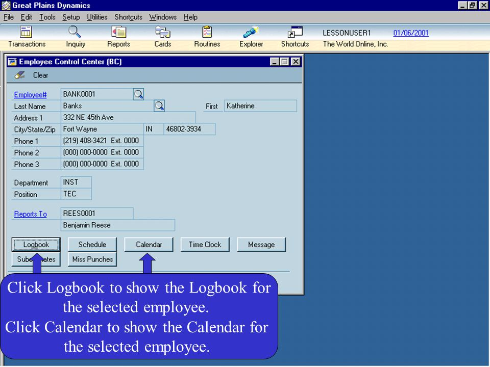 Click Logbook to show the Logbook for the selected employee.