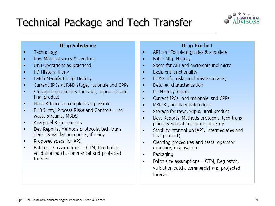 Technical Package and Tech Transfer
