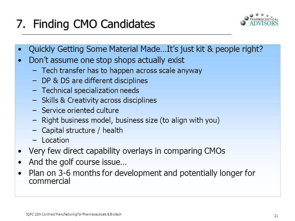7. Finding CMO Candidates