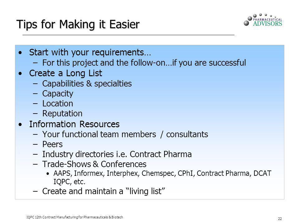 Tips for Making it Easier