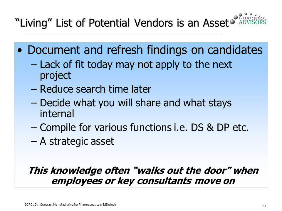 Living List of Potential Vendors is an Asset