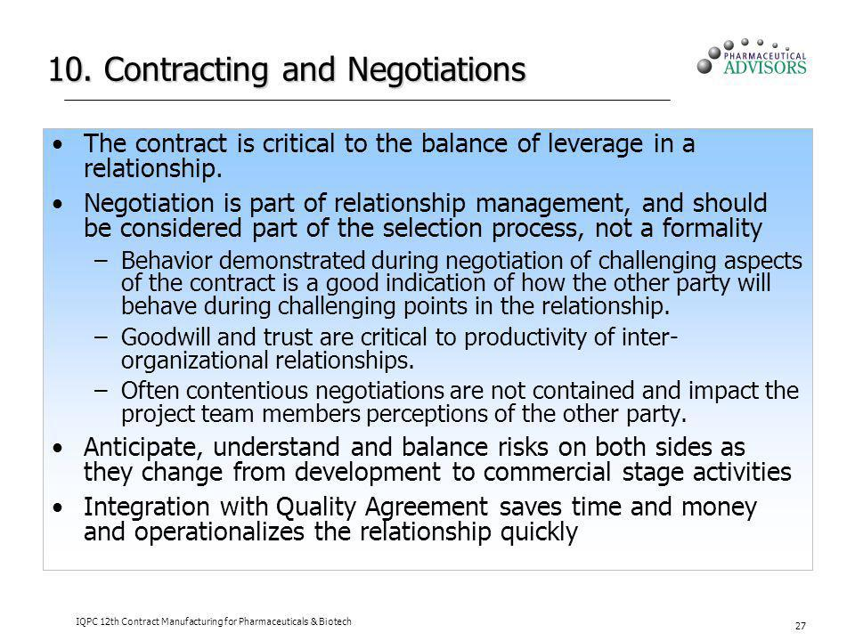 10. Contracting and Negotiations