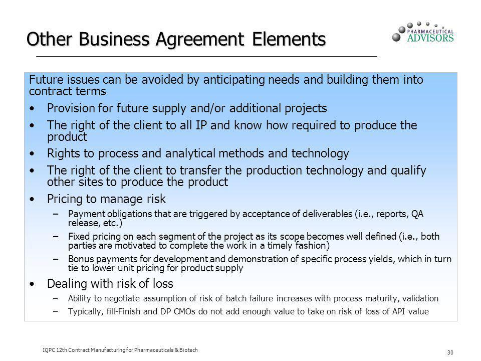 Other Business Agreement Elements