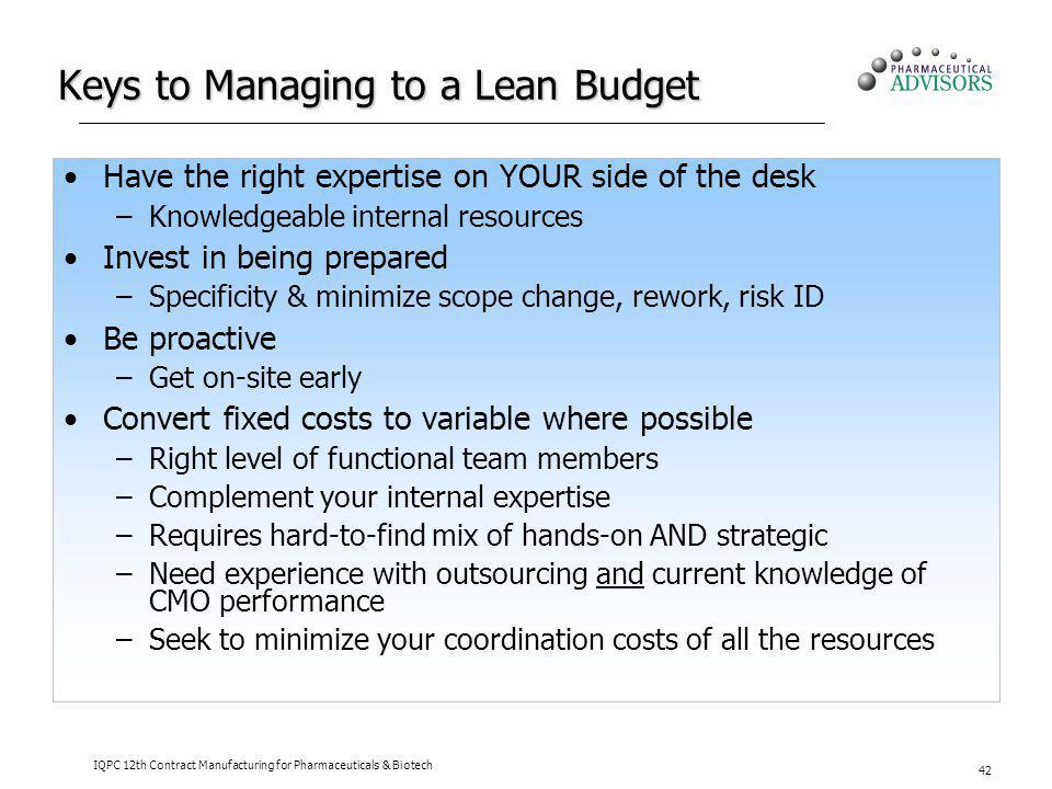 Keys to Managing to a Lean Budget
