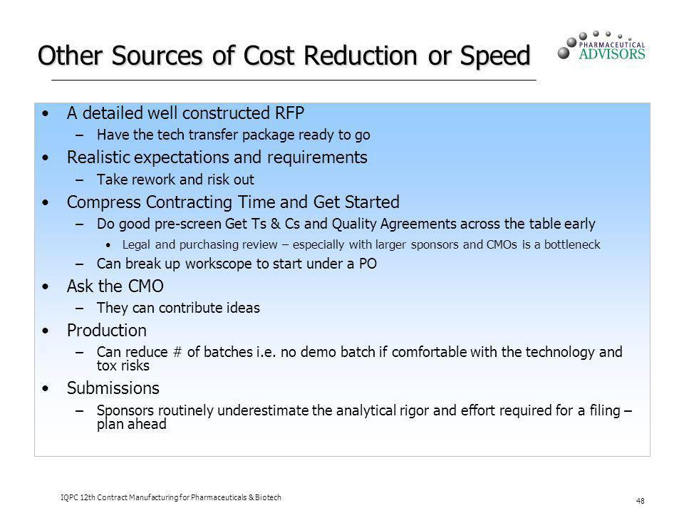 Other Sources of Cost Reduction or Speed