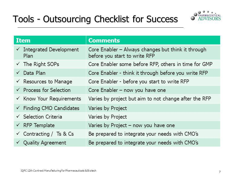 Tools - Outsourcing Checklist for Success