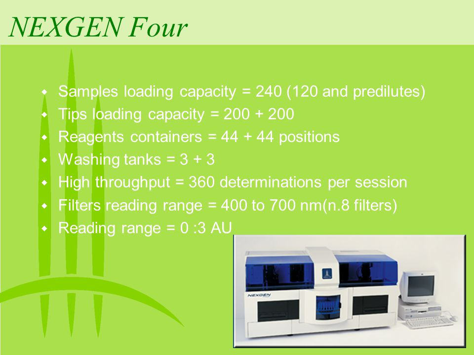 NEXGEN Four Samples loading capacity = 240 (120 and predilutes)