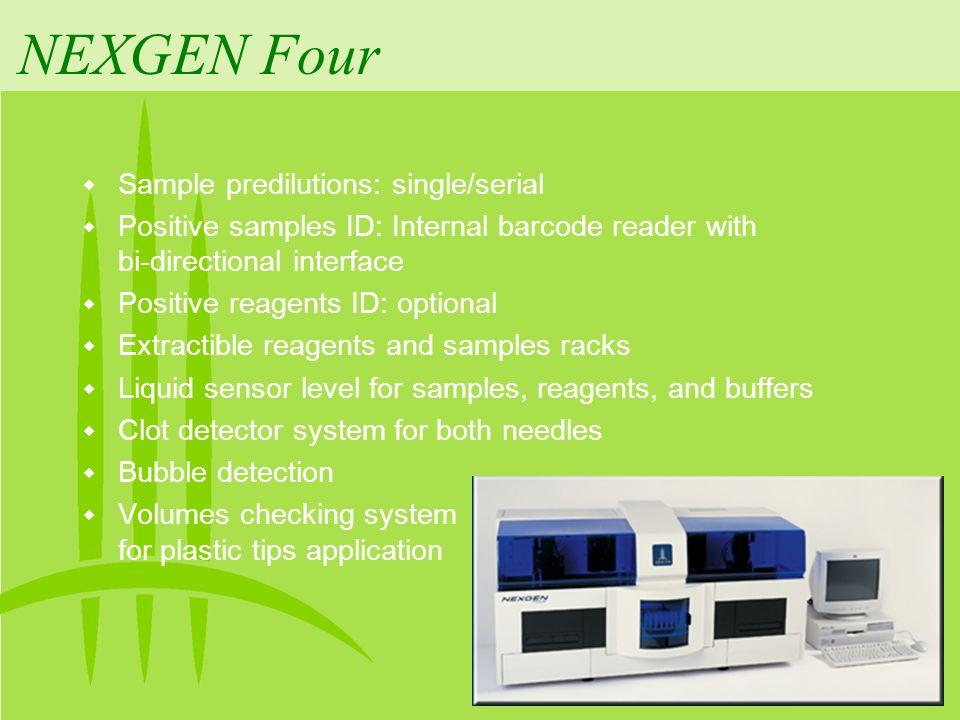 NEXGEN Four Sample predilutions: single/serial