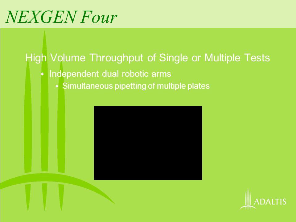 NEXGEN Four High Volume Throughput of Single or Multiple Tests