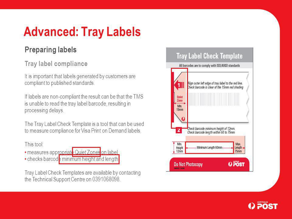 Advanced: Tray Labels Preparing labels Tray label compliance