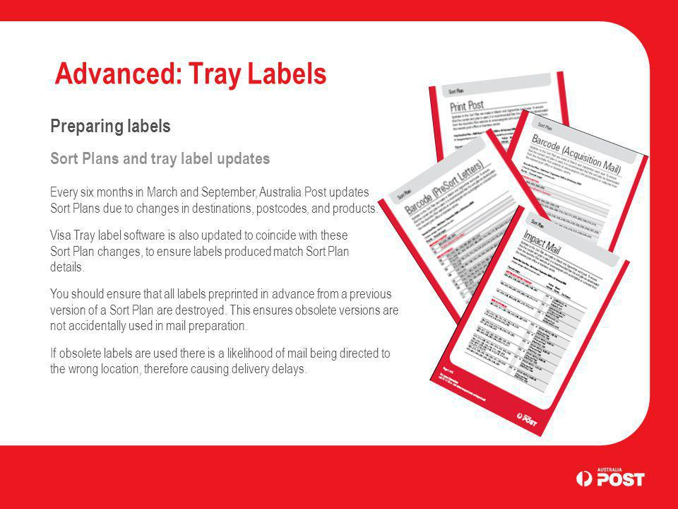 Advanced: Tray Labels Preparing labels