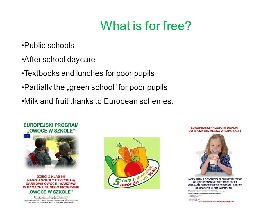 What is for free Public schools After school daycare