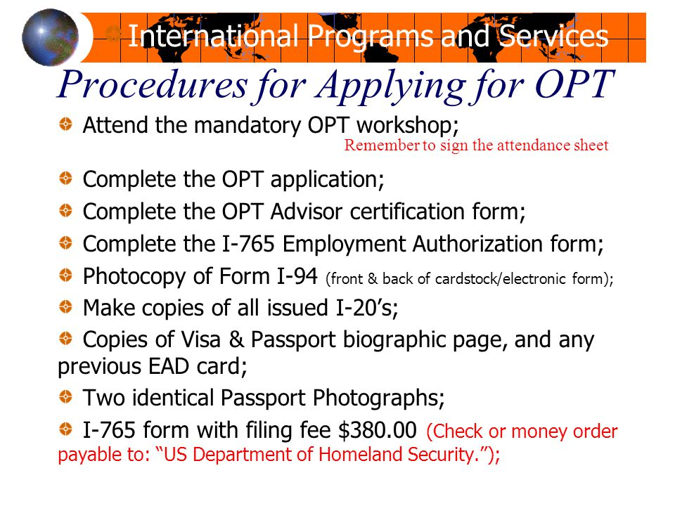 Opt Workshop Office For International Programs And Services - Ppt