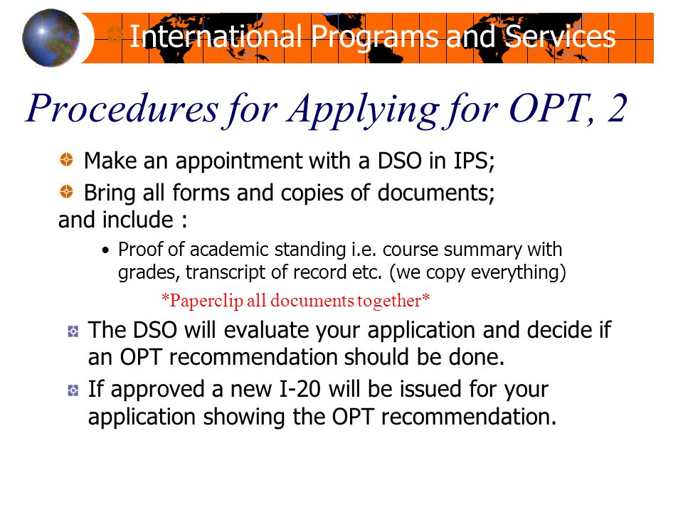Procedures for Applying for OPT, 2