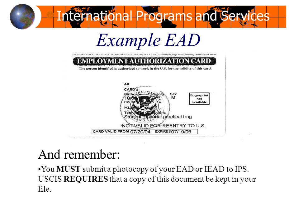Example EAD And remember: