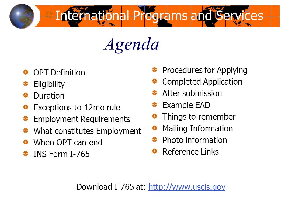 Opt Workshop Office For International Programs And Services Ppt