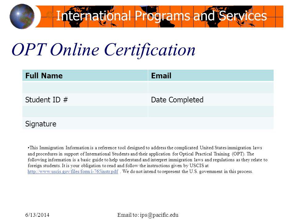 OPT Online Certification