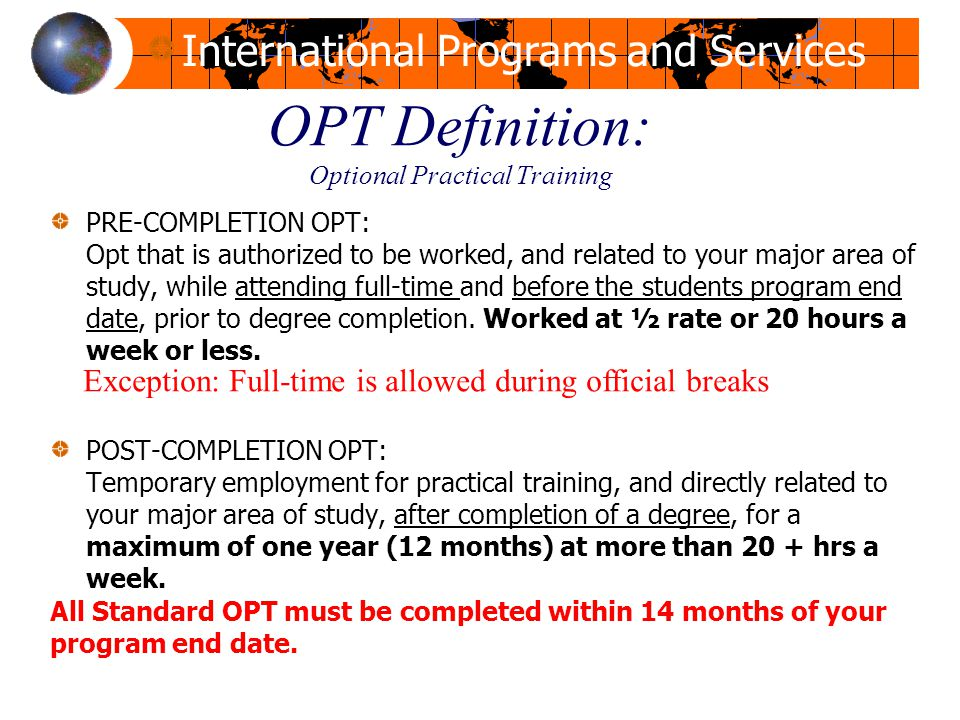 OPT Definition: Optional Practical Training