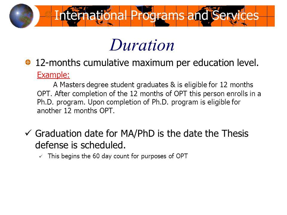 Duration 12-months cumulative maximum per education level.