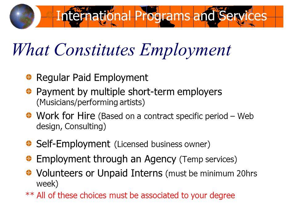 What Constitutes Employment