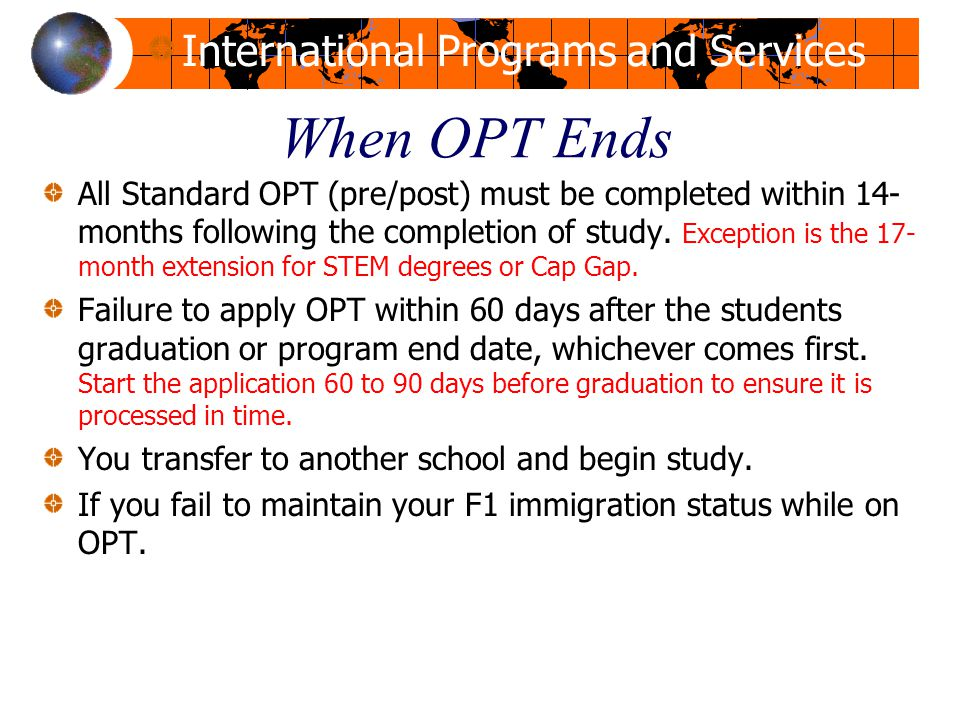 When OPT Ends