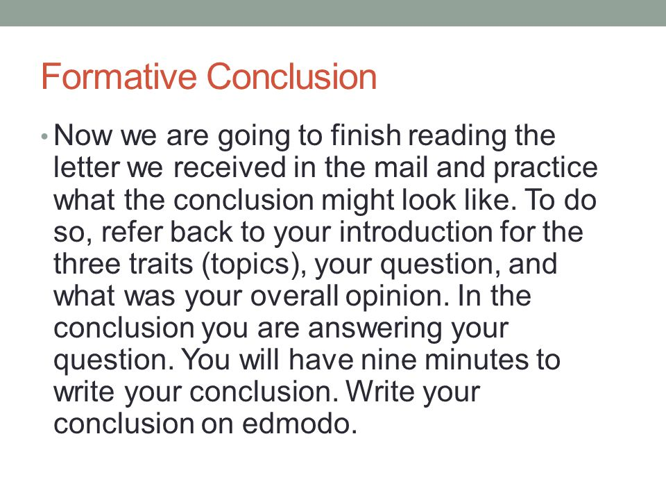 Formative Conclusion