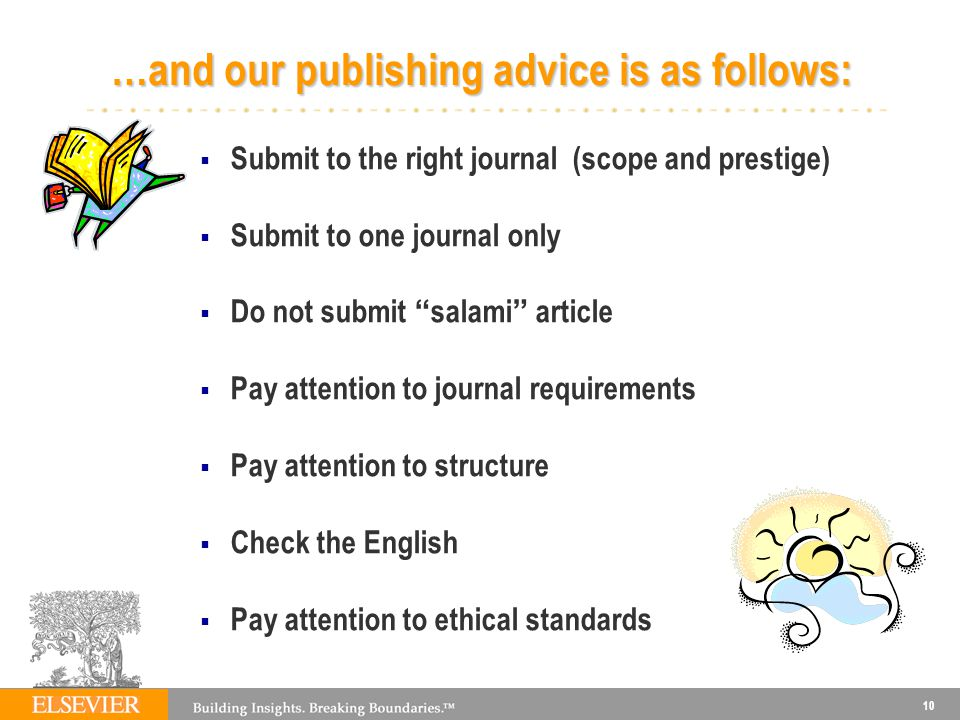 …and our publishing advice is as follows:
