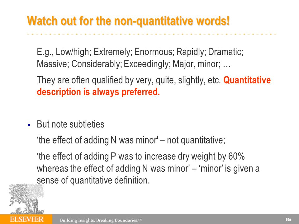 Watch out for the non-quantitative words!